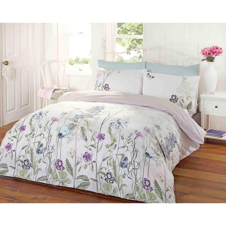 Garden Floral Duvet Cover Reversible Stripe Bedding White
