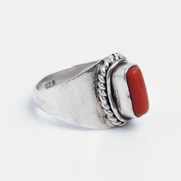 Inel unicat argint și coral dreptunghi, Nepal  #metaphora #silverjewelry #silverjewellery #nepal #rings #coral