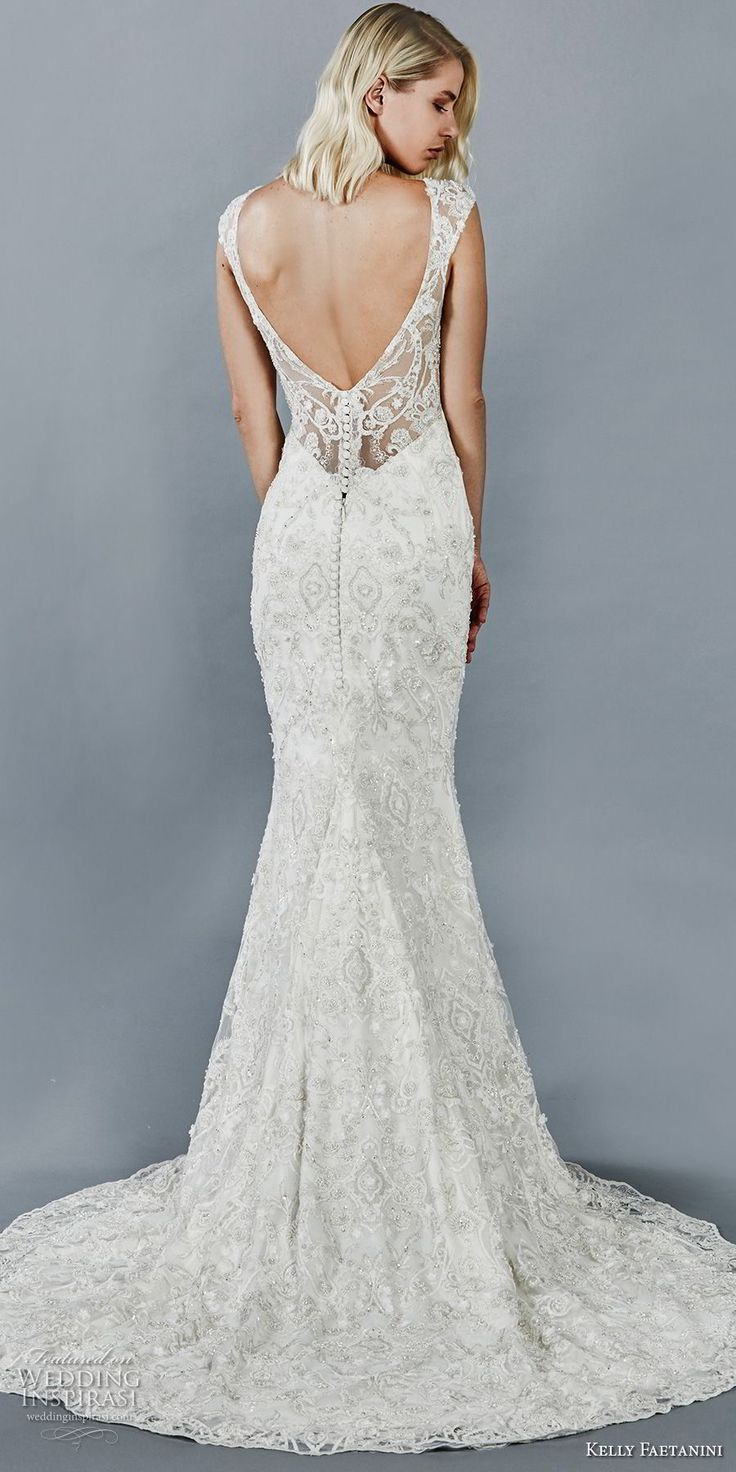 kelly faetanini fall 2018 bridal cap sleeves sweetheart neckline full beaded embellishment elegant fit and flare sheath wedding dress open v back sweep train (10) bv -- Kelly Faetanini Fall 2018 Wedding Dresses