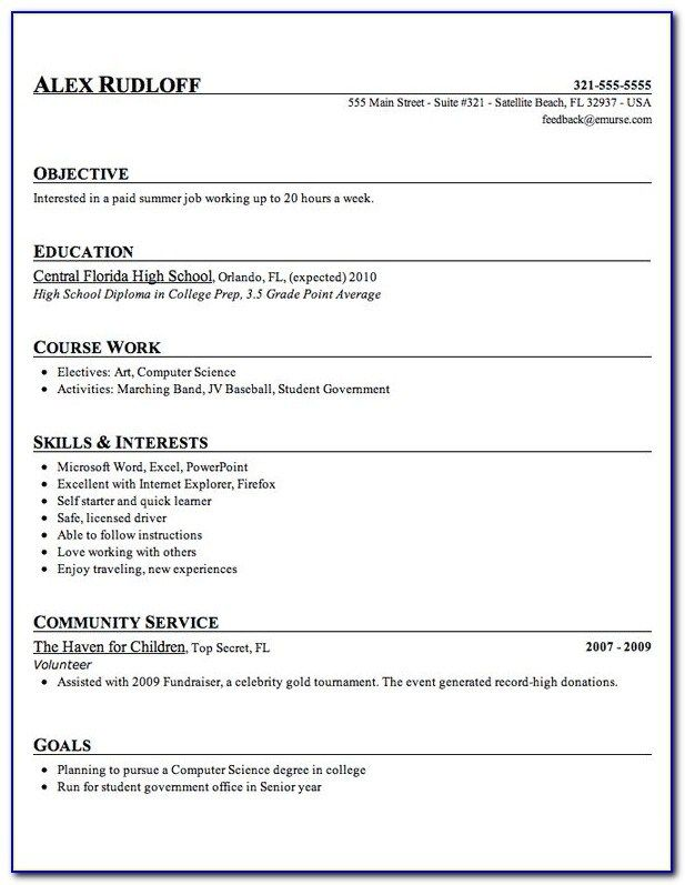 Free Template For High School Student Resume Resume High School Resume Template College Resume Template High School Resume