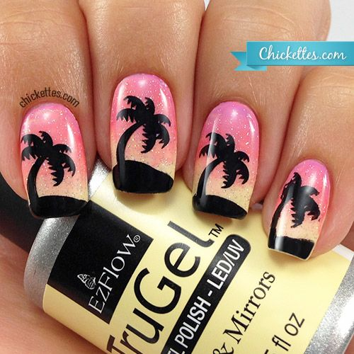 Tropical Beach Sunset Palm Tree Nails
