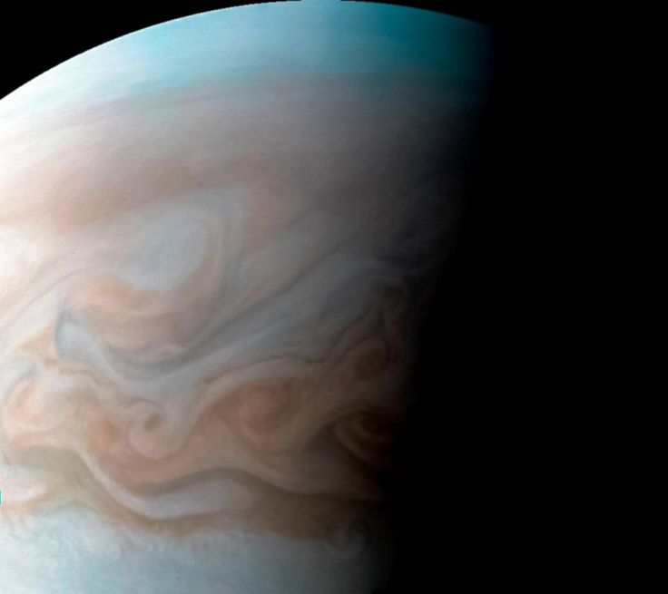 This close-up view of Jupiter captures the turbulent region just west of the Great Red Spot in the South Equatorial Belt, with resolution better than any previous pictures from Earth or other spacecraft. NASA's Juno spacecraft captured this image with its JunoCam citizen science instrument when the spacecraft was a mere 8,700 kilometers above Jupiter's cloudtops on Dec. 11, 2016 at 9:14 a.m. PT (12:14 p.m. ET).