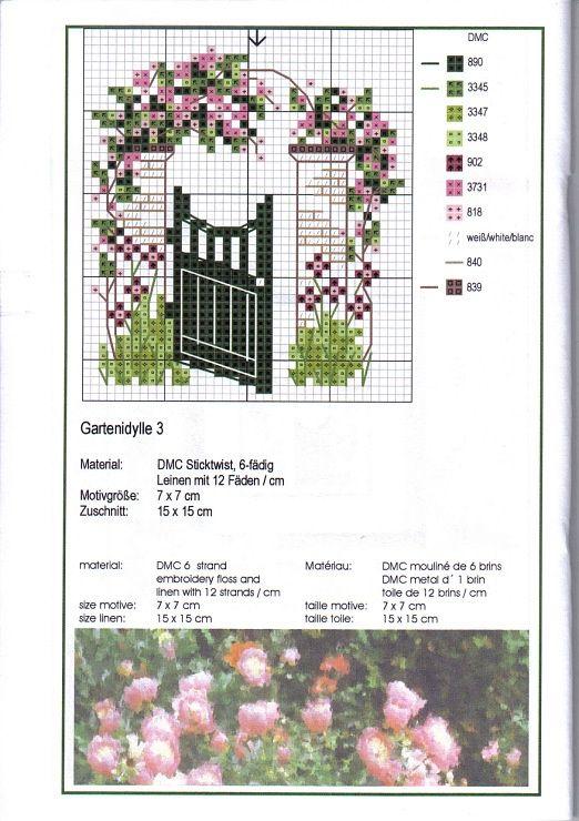 0 point de croix grille et couleurs de fils barrière de jardin et fleurs