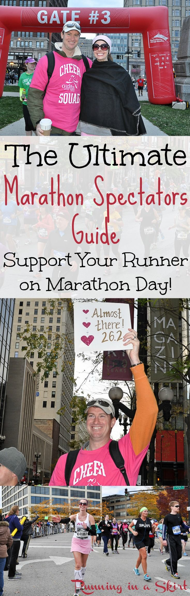 The Ultimate Marathon Spectators Guide!  Marathon tips to support a loved one running a big city marathon.  From signs, ways to actually see your runners along the course, an outfit to get noticed or ways to just have an awesome fun time this guide has it all!  Great for any marathon, but features the Chicago Marathon.  Use for New York or any other city.  Bucket list! / Running in a Skirt