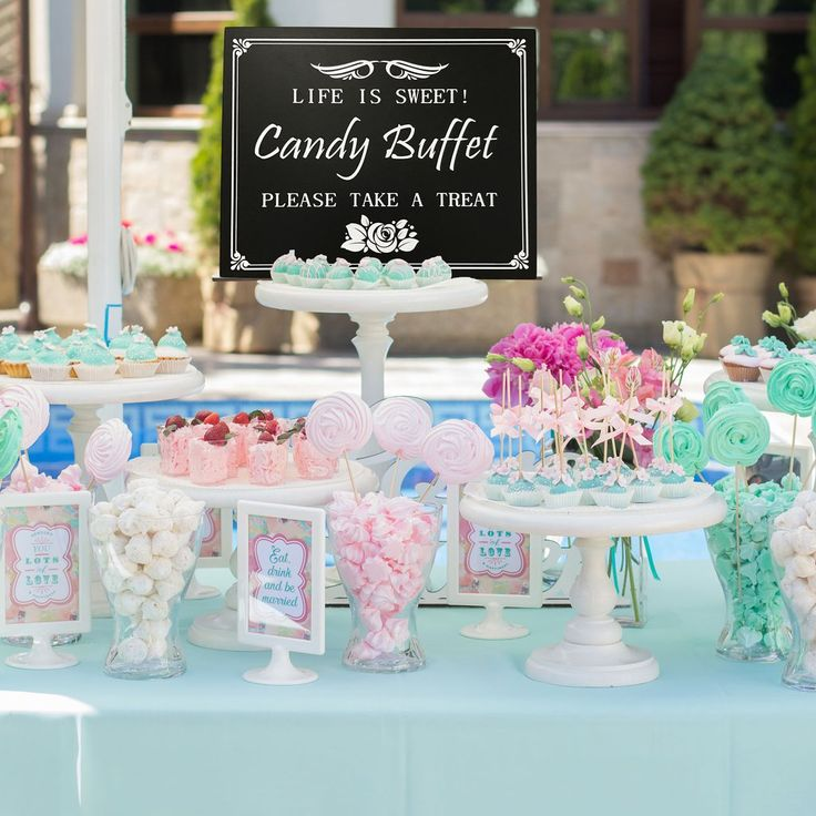 JennyGems Candy Buffet - Wood Box Sign - Perfect for Wedding, Birthday, Anniversary, Bridal Shower, Baby Shower Parties – Elegant Table and Wall Display – for Special Occasions