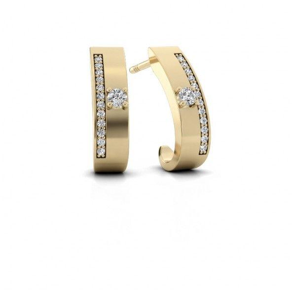 Vicky oorknopjes - gemaakt van 14 karaat geelgoud. Verrijkt met kleine diamanten van totaal 0.12 ct en grote diamanten van ieder 0.05 ct.