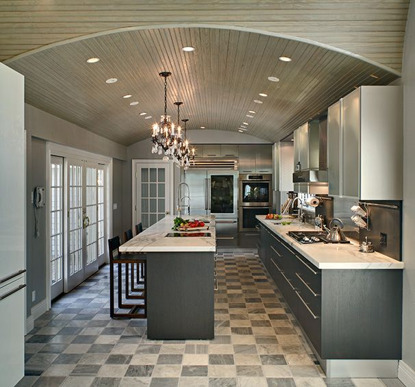 Custom Kitchen Design   Contemporary Kosher Black And White Cabinetry With  Opaque Glass Doors