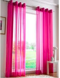 Organza Curtains 140cm x 218cm cw Tape-top  Cerise,Purple,Lilac, Royal Blue, Light Blue, Teraotta R50.00 Excl Vat