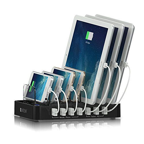 Satechi 7-Port USB Charging Docking Station - Three 2.4A ports can charge high-powered devices such as tablets, while four 1A ports can charge smartphones, music players, and other devices. Charge a total of 7 devices simultaneously.