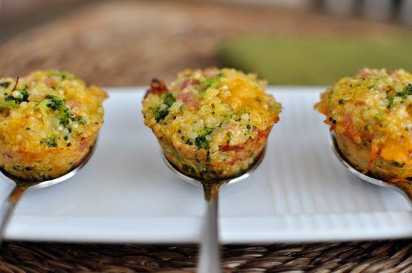 Ham and Cheese Quinoa Bites substitute broccoli for zucchini shredded