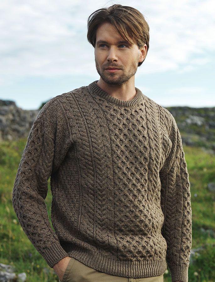 Men's Merino Aran Sweater - Brown Marl