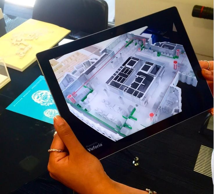 AR on Google Pixel C tablet created bespoke by Seeable from a BIM design