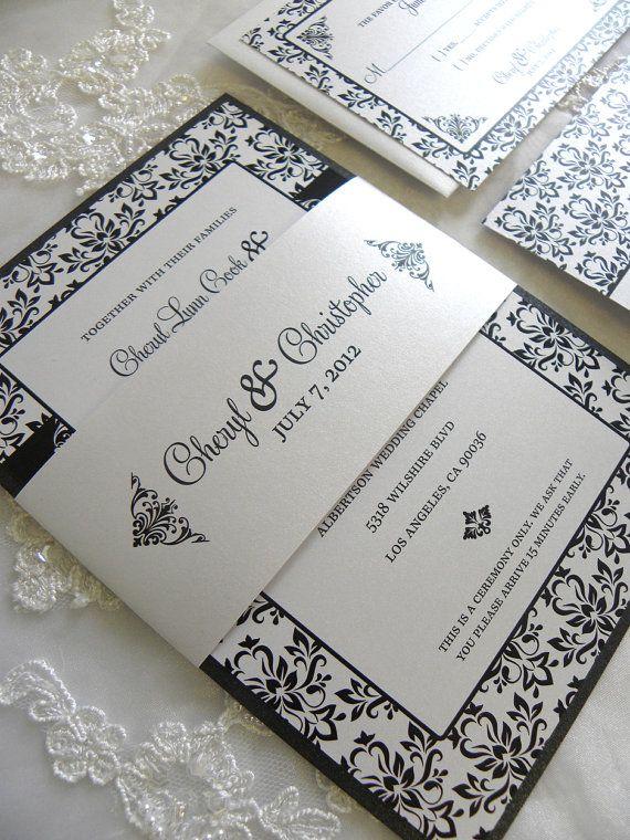 Elegant Black and White Damask Wedding Invitation Set by citlali, $40.00