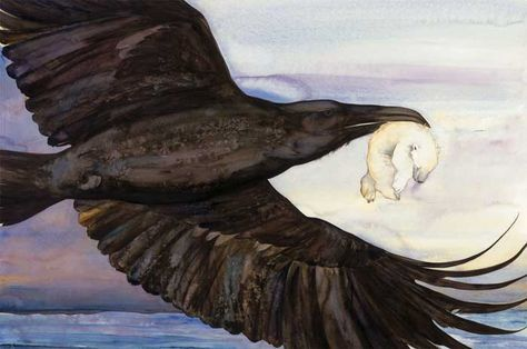 Raven stole away her one child and carried him high in the sky, pulling the dark of winter behind on her black wings. The image shows a raven in flight carrying a polar bear cub. The Ice Bear by Jackie Morris published by Frances Lincoln September 2nd 2010, distributed in USA by PGW Also published in France, Denmark, Spain In Spanish and in Catalan.