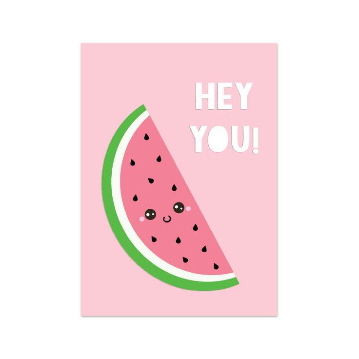 Kaartje met een super schattige watermeloen! Shop hem op www.livelifehappy.nl