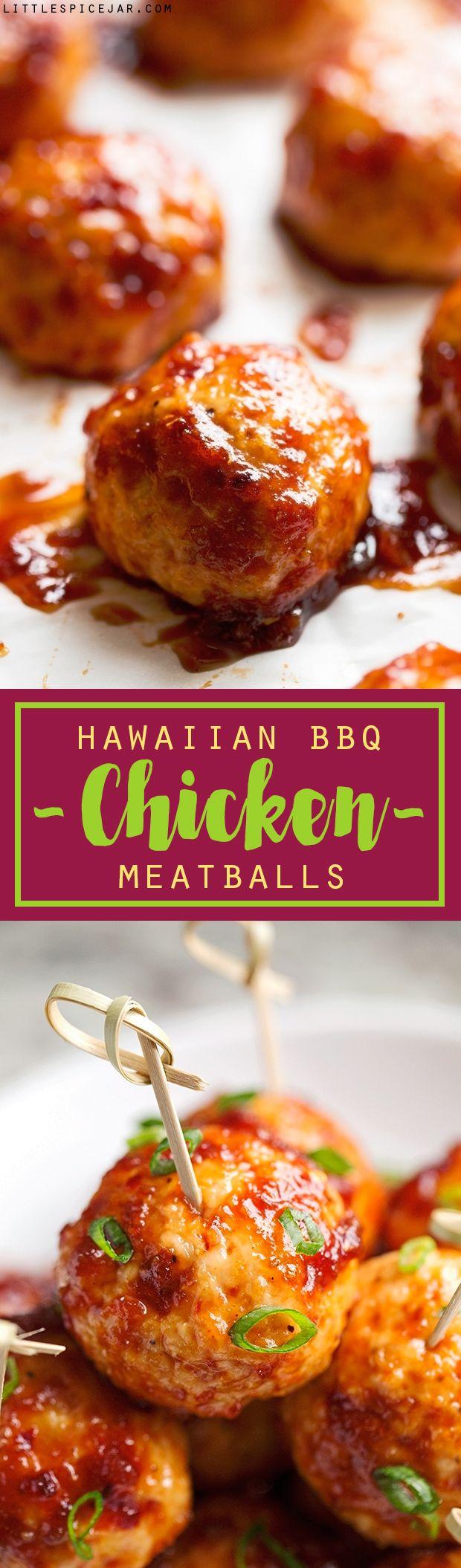 Hawaiian BBQ Chicken Meatballs - easy to make chicken meatballs covered in homemade hawaiian bbq sauce! #chickenmeatballs #meatballs #hawaiiianbbqsauce   Littlespicejar.com