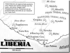 "Map of south-eastern Liberia from the book Before We Kill And Eat You  Note ""The Pahn Tribal Area."""