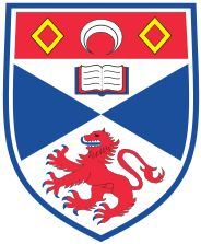 St Andrews is the third-oldest university in the English-speaking world, after Oxford and Cambridge. Its shield depicts a rampant lion, symbolic of England, but the blue and white field recall the Saint Andrew's Cross of its native Scotland. The form of the shield is curved in a form that was most common in the 14th century, which resonates with the founding of the university in the early 15th century.