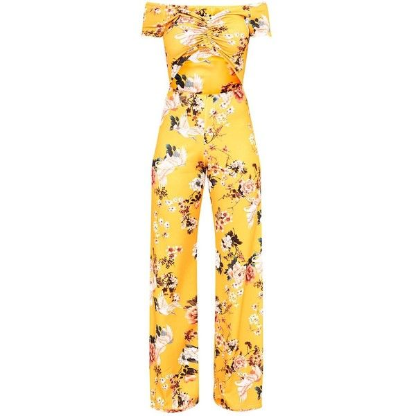 Yellow Floral Ruche Cut Out Jumpsuit ($32) ❤ liked on Polyvore featuring jumpsuits, floral jumpsuit, cut-out jumpsuits, jump suit, cut out jumpsuit and floral print jumpsuit