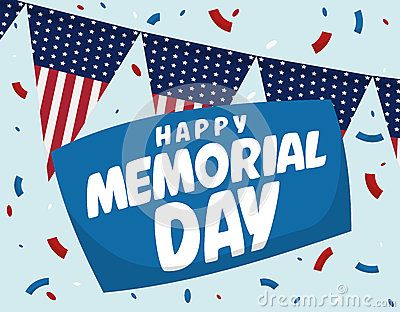 Festive and patriotic poster with buntings design and greeting for Memorial Day celebration.