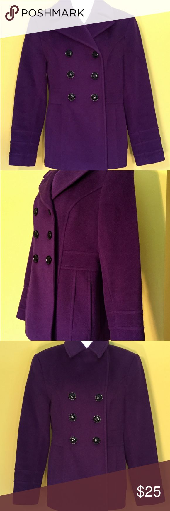 Plum St. John's Bay Wool Pea Coat Size Small Get ready for cool weather with this plum St. John's Bat wool blend women's pea coat. The size small button down coat covers the hips. It features exterior pockets and 1 interior pocket.  Browse our other items at Fb.me/TheRovingCloset St. John's Bay Jackets & Coats Pea Coats