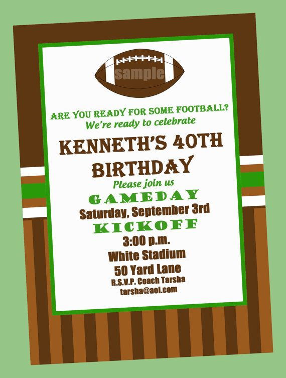Football Birthday Party Invitation Printable Or Printed With FREE SHIPPING In 2019