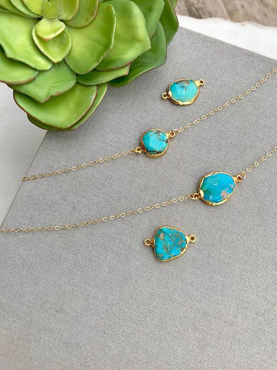 Raw Turquoise Necklace Boho Rough Cut Freeform Turquoise