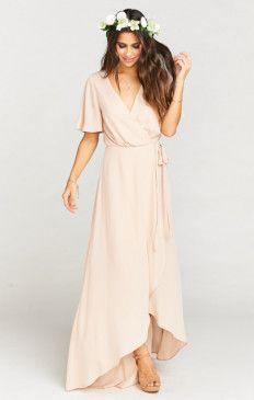 Sophia Wrap Dress ~ Dusty Blush Crisp