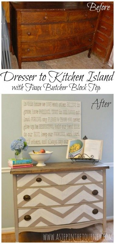 Dresser to kitchen island upcycle with faux butcher block counter top tutorial
