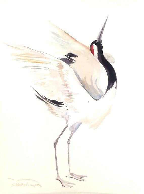 Japanese Crane Original watercolor painting 12 X 9 in black