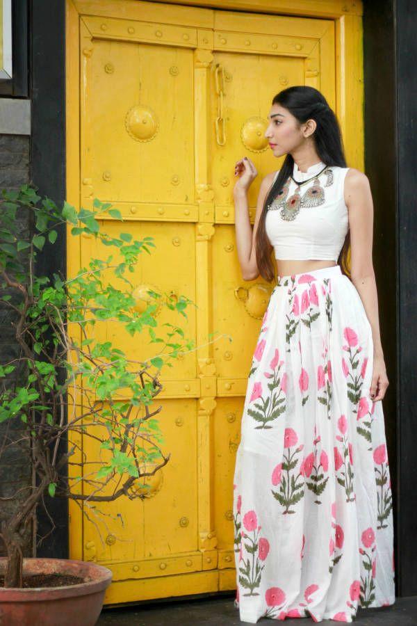 Pink mogra crop top and skirt set  |  Shop now: www.thesecretlabel.com