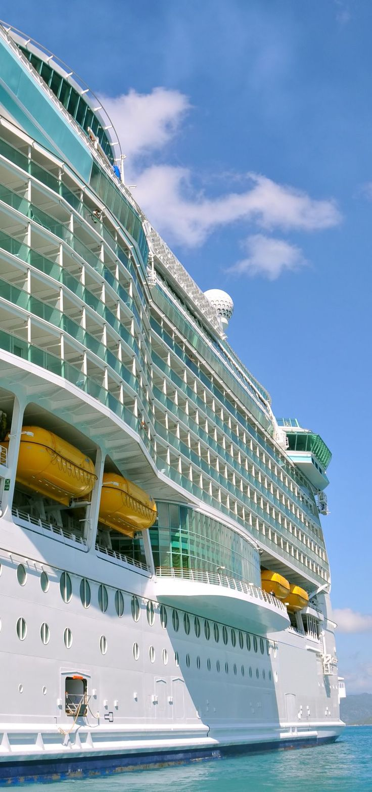 Luxury cruise ship in the Caribbean - view from the tender
