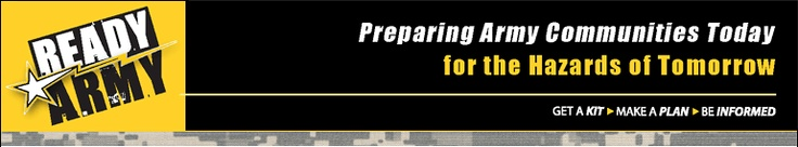 The Ready Army website provides information about severe weather and natural disaster hazards, Comprehensive Soldier Fitness and more.