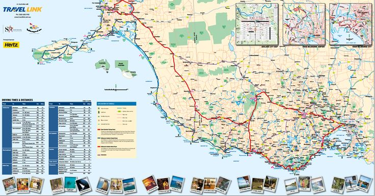 A detailed touring map of the Great Southern Touring Route region including drive times and distances.