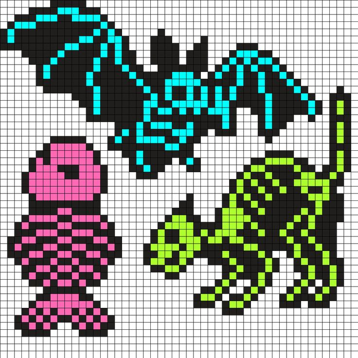 Skeletal Bat Cat And Fish Perler Bead Pattern / Bead Sprite