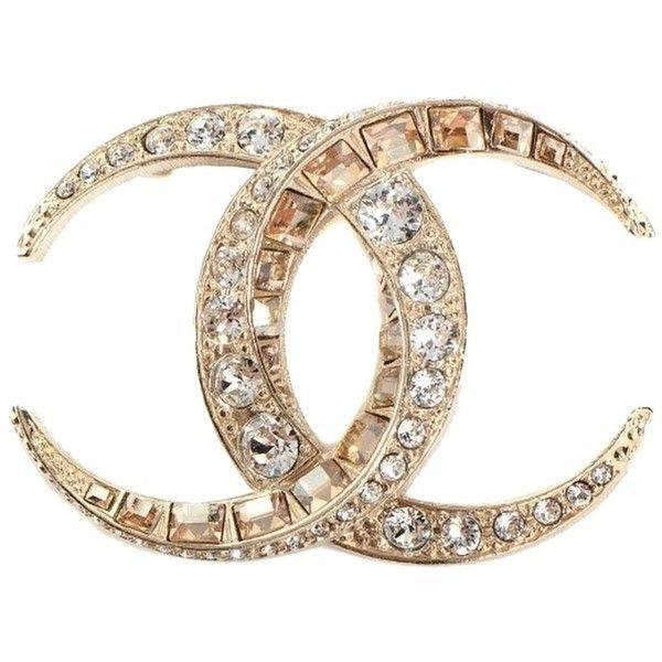 Pre-owned 2015 Chanel Cc Logo Crystals Brooch Pin Gold Moon Huge ($780) ❤ liked on Polyvore featuring jewelry, brooches, accessories, gold, sparkle jewelry, chanel brooch, preowned jewelry, chanel and gold brooch