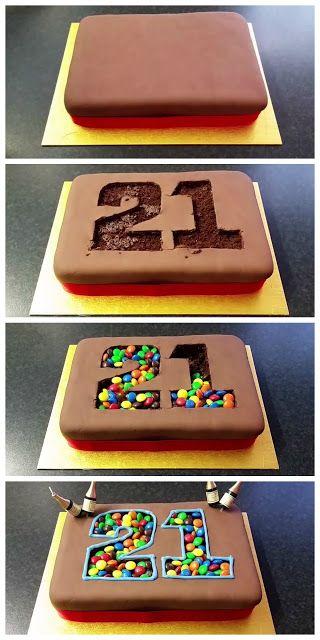 DIY M&M Birthday Cake