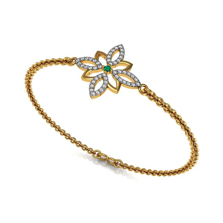 Emerald Floral Bangle Bracelet SGL Certified Diamond Jewelry Set in Solid Yellow Gold