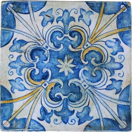 Portuguese #Tile I can't risk tiling he patio since I don't know how the glazing & mortar would stand up to repeated freeze/thaw cycles but I could use one fabulous tile, blow up the design to patio size, grid it out and recreate it in colored concrete pavers.