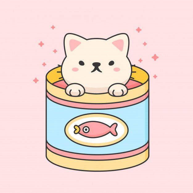 Cute Cat In A Tuna Can Cute Doodles Cute Drawings Cute Cartoon Characters