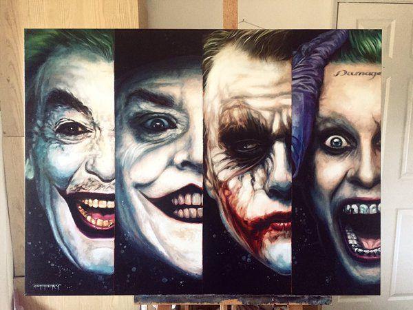 The Joker Cesar Romero, Jack Nicholson, Heath Ledger and Jared Leto by Ben Jeffery