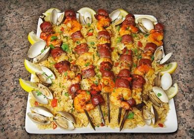 Cedar Planked Paella Kabobs | Recipe | Paella and Kabobs