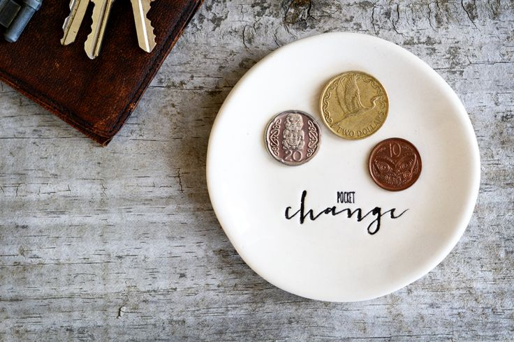 Ceramic Pocket Change Dish - Spare change bowl | Felt