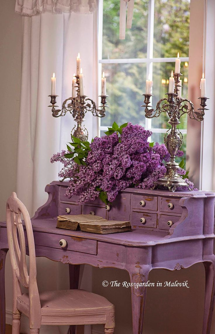 Writing Desk / The Lilac Color With The Pewter Is Beautiful. And Then, A  Pink Chair!