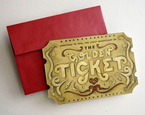 Father's Day Custom Golden Ticket Greeting Card with Scratch Off Message to surprise dad, grandfather, uncle, husband, personalize gift!
