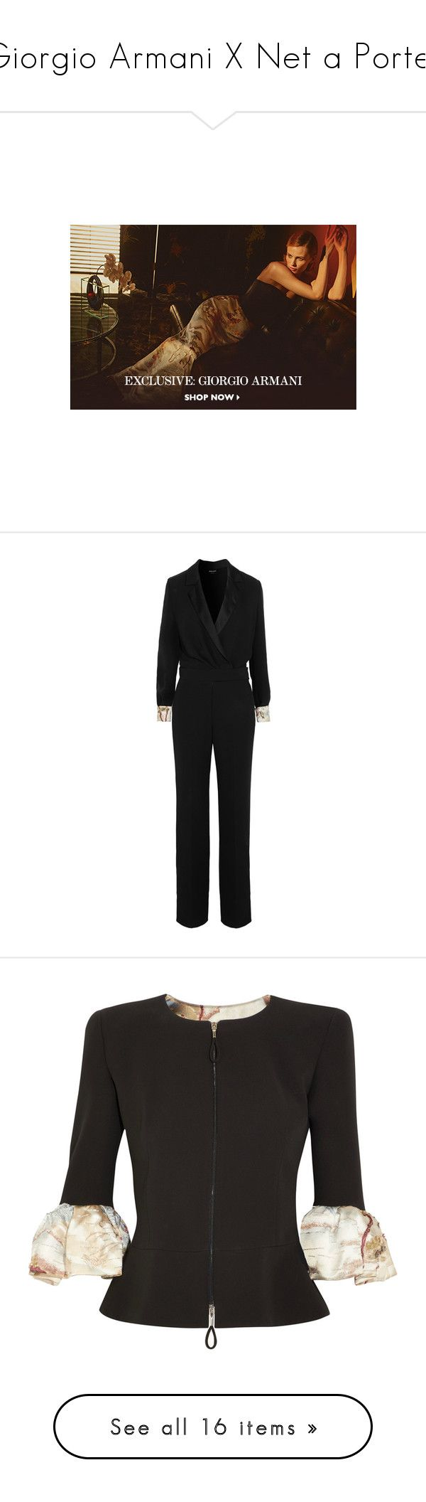 """""""Giorgio Armani X Net a Porter"""" by sylandrya ❤ liked on Polyvore featuring jumpsuits, black, sequin jump suit, giorgio armani tuxedo, going out jumpsuits, giorgio armani, tux jumpsuit, dresses, gowns and beige"""