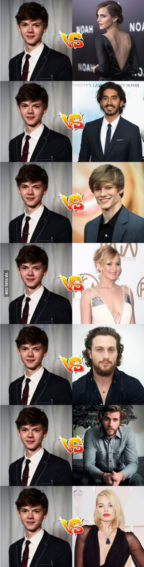 Thomas Brodie-Sangster with the same age actors. lol, this is absurd, does he have superpower?