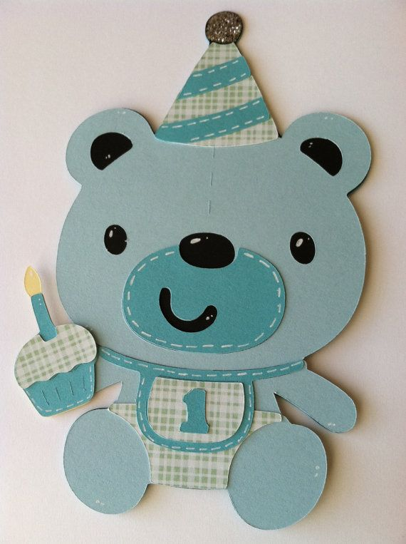 Card teddy bear card 1 card teddy bear birthday handmade boy card