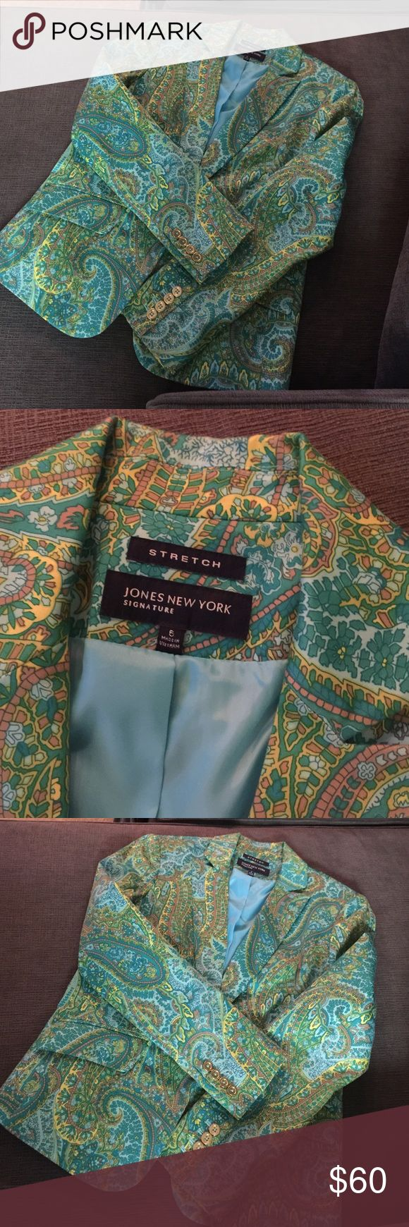 Beautiful printed blazer✨ Jones New York signature multicolor but mainly green blazer. Gold button details at sleeves. Blazer is in excellent condition.. Jones New York Jackets & Coats Blazers