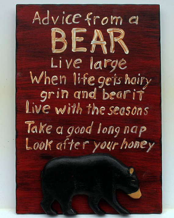 LOOK AFTER YOUR HONEY Rustic Lodge Cabin Bear Sign ADVICE FROM A BLACK BEAR